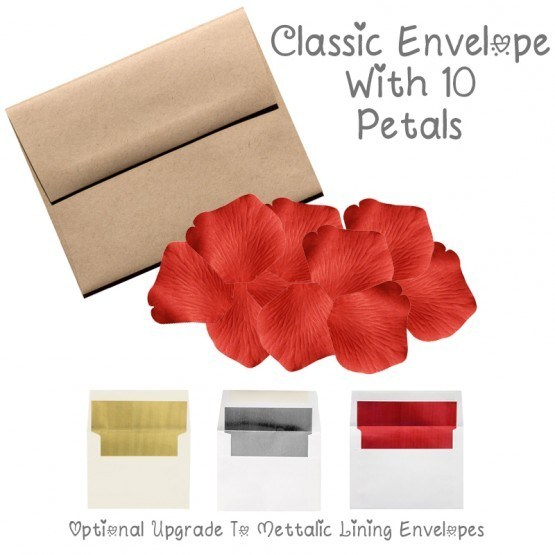 10 Silk Red Rose Petals With Envelope