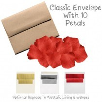 10 Silk Red Rose Petals With Envelope & Note